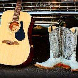 country musikkens historie, støvler, guitar